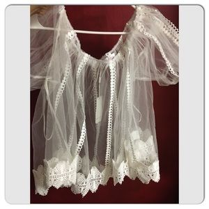 CUTE! White Sheer Tulle Off shoulder Top